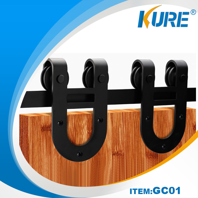 Solid Wood Barn Door Style Sliding Door Hardware untuk Kabinet